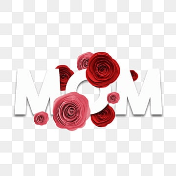 mom word with roses, Mothersday, Mother Day Elements, Mothers Day Design PNG and PSD