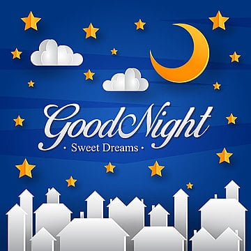 good night paper art greeting card and banner illustration, Good Night, Invitation, Modern PNG and Vector