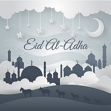 modern paper art islamic eid al adha card illustration eid al adha, Eid Al-adha, Mosque, Islamic PNG and Vector