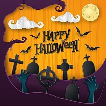 happy halloween paper art card illustration, Summer, Holiday, Halloween PNG and Vector