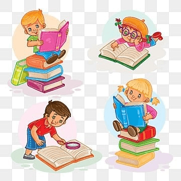 Set icons of small children reading a book, Reading, Book, Children PNG and Vector