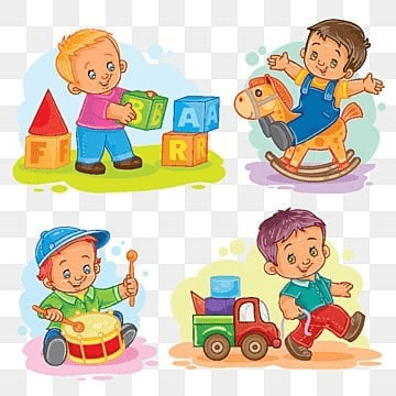 Set of vector icons little boy playing with toys, Cartoon, Illustration, Set PNG and Vector