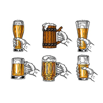 set of vector icons beer glasses, Beer, Glass, Isolated PNG and Vector