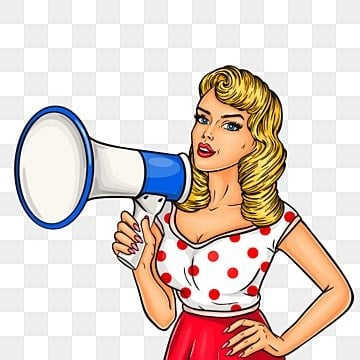Pop art girl with megaphone, Pop, Woman, Girl PNG and Vector