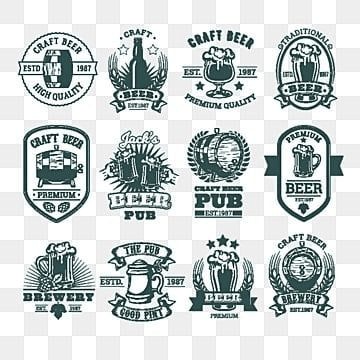 collection of retro emblems  badges  stickers, Icon, Mug, Pub PNG and Vector