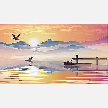 вид на озеро и пирс, пейзаж, закат, мол PNG ресурс рисунок и векторное изображение