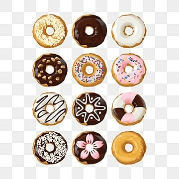 Set delicious donuts in glaze, Donut, Food, Isolated PNG and Vector