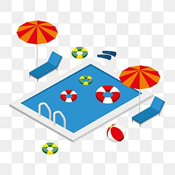 Isometric swimming pool with summer elements, Isometric, 3d, Summer PNG and Vector