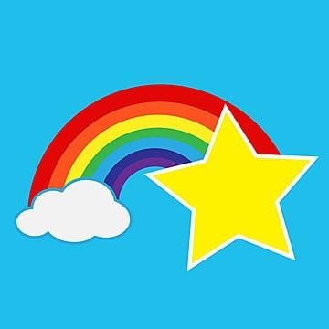 クラウドのアイコンと虹 レインボー ベクトル イラスト画像素材の無料
