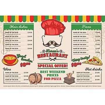 Vector illustrations Italian restaurant menu, a cafe, Menu, Food, Restaurant PNG and Vector