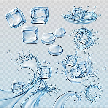 Set vector illustrations water splashes and flows with ice cubes, Water, Drop, Purity PNG and Vector