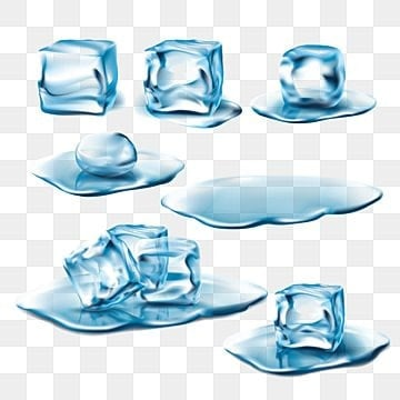 Set of vector wet melting ice cubes and water puddles, Ice, Melt, Cube PNG and Vector