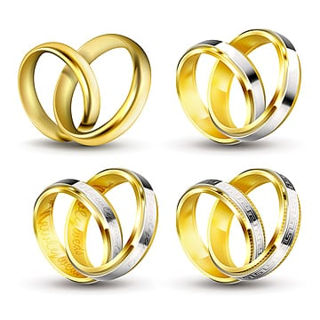 Set of realistic vector illustrations of gold engagement rings w, Ring, Wedding, Couple PNG and Vector illustration image