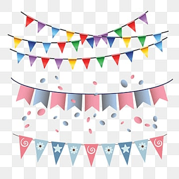 birthday flag multi color garland hanging, Gold, Illustration, Frame PNG and Vector
