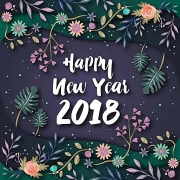 elegant floral theme happy new year 2018 greeting card illustration, Year, New, 2018 PNG and Vector