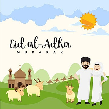 modern cute eid al adha cartoon greeting card eid al adha, Islamic, Eid Al-adha, Hajj PNG and Vector