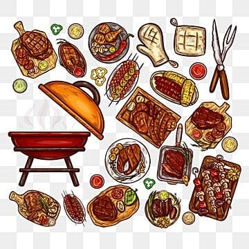 Set of vector illustrations elements for barbecue, Barbecue, Food, Meat PNG and Vector