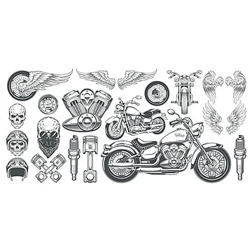 cbece1326 Set of vector illustrations, icons of vintage motorcycle in vari,  Motorcycle, Skull,