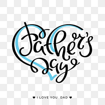 Happy father's day lettering on a white background with a blue heart, Father, Typography, Dad PNG and Vector