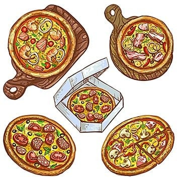 set of vector illustrations whole pizza and slice  pizza on a wo, Pizza, Food, Illustration PNG and Vector