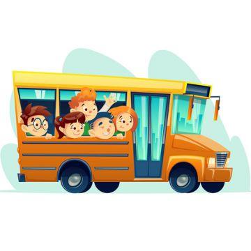 Vector cartoon school bus full of happy kids, Schoolbus, School, Bus PNG and Vector illustration image