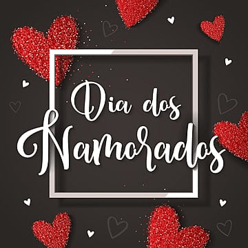 Dia dos Namorados greeting card with red hearts on the black background, Happy, Holiday, Card PNG and Vector