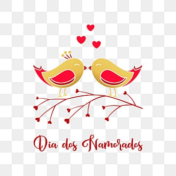 Dia dos Namorados greeting card with enamored birds, Happy, Holiday, Card PNG and Vector