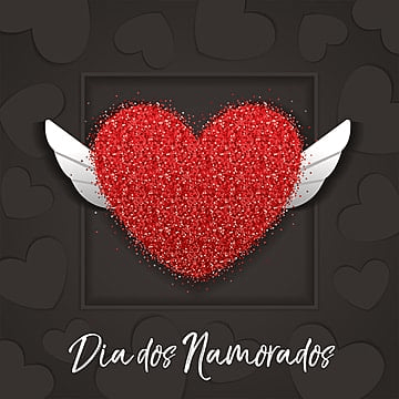 Dia dos Namorados greeting card with red heart on the black background, Happy, Holiday, Card PNG and Vector
