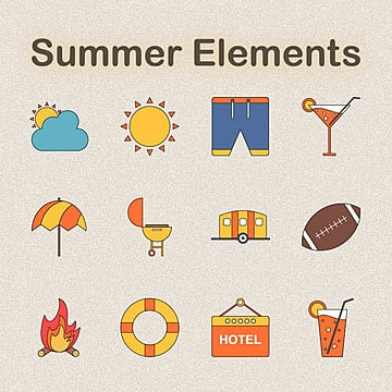 cartoon lovely summer elements, Background, Hand, Summer PNG and Vector