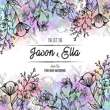 and drawn floral wedding invitation with watercolor background, Background, Frame, Wedding PNG and Vector
