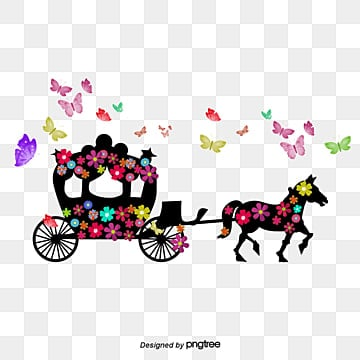 Hand-painted flowers wedding carriage butterfly, Butterfly, Flowers, Wedding PNG and PSD