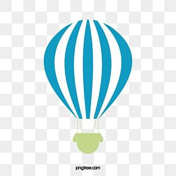 Blue Striped Hot Balloon Element Stripe Hot Air Balloon Three