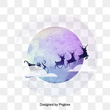 Christmas Christmas moon transparent background element material, Christmas, Car, Moon PNG Image