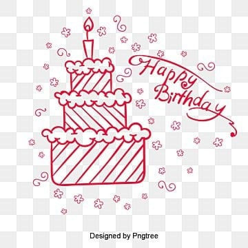 Birthday Cake, Birthday, Cake, Line Drawing PNG and Vector