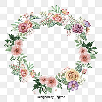 Beautifully -painted  rose wreath border