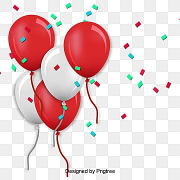 Birthday Balloons Balloon Red White PNG And PSD