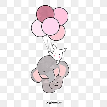 The Elephant and the White Rabbit, Pink Balloons, Children, Animal PNG Image