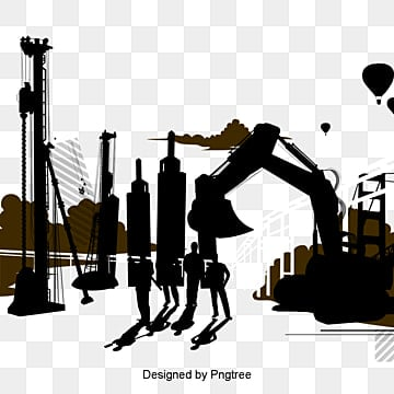 construction silhouette, Sketch, Building, Silhouette Figures PNG and PSD