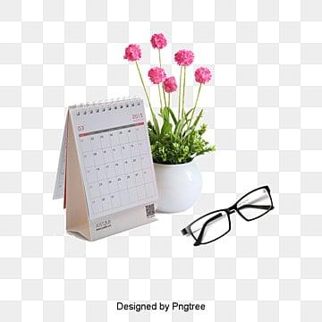 Calendar, Calendar, Glasses, Flower Pot PNG and PSD