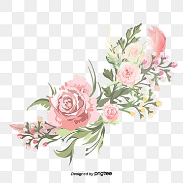 Watercolor pink flowers Sen Department, Pink Flowers  Leaves, Watercolor Flowers Sen Department PNG Image
