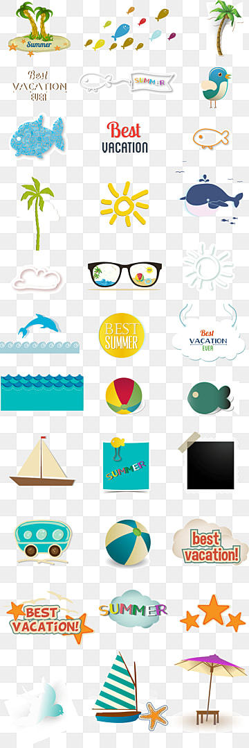 Summer elements Free PNG and PSD