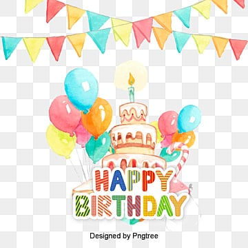 Happy Birthday Elements Cartoon PNG And PSD