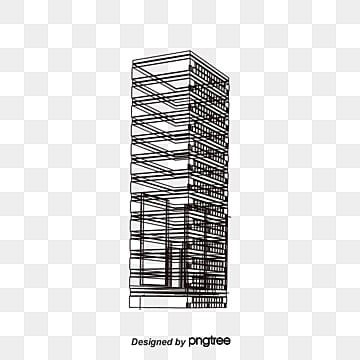 city building lines Chinese Style Concise Line Background Image