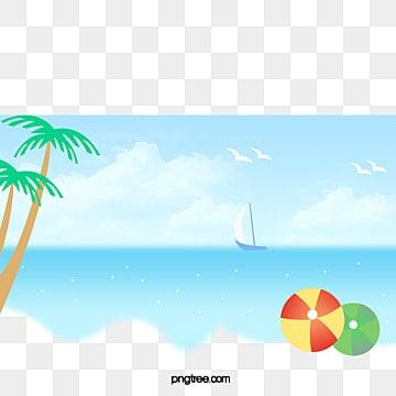 ชายหาดในช่วงฤดูร้อนการท่องเที่ยว  วันหยุดพักผ่อน  ปาล์มต้นไม้ รูปภาพ PNG และคลิปอาร์ท