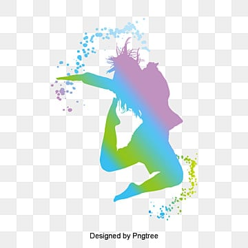youthful silhouette dancing girl watercolor, Youth, Flying, Vitality PNG and PSD