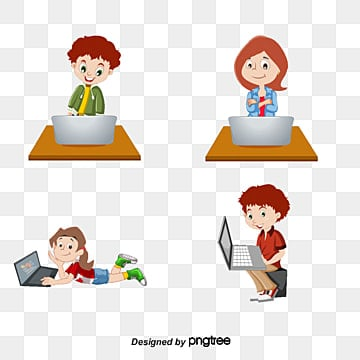 children playing computer cartoonCartoon  AE  Vector PNG Y Vector