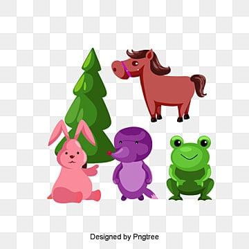 Cartoon animals, Giraffe, Elephant, Bird PNG and Vector