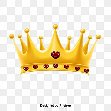 3D diamond crown queen of love, Golden, Queen PNG and PSD