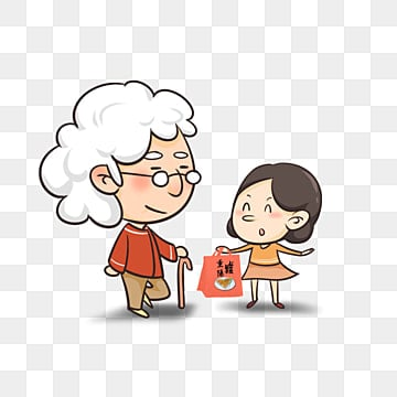 grandma and granddaughter, People Illustration, Character, Cartoon Characters PNG Image and Clipart