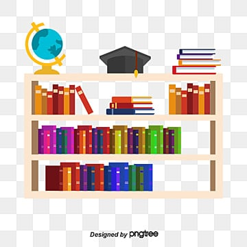 Vector Painted Bookshelf Hand Cartoon PNG And